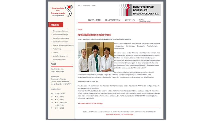 Webseite für Rheuma- und Schmerztherapie, Holzkirchen
