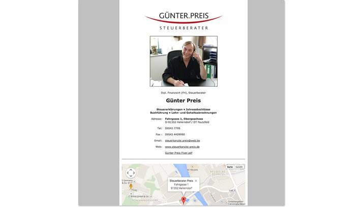 Webvisitenkarte Steuerberater Preis, Hallerndorf