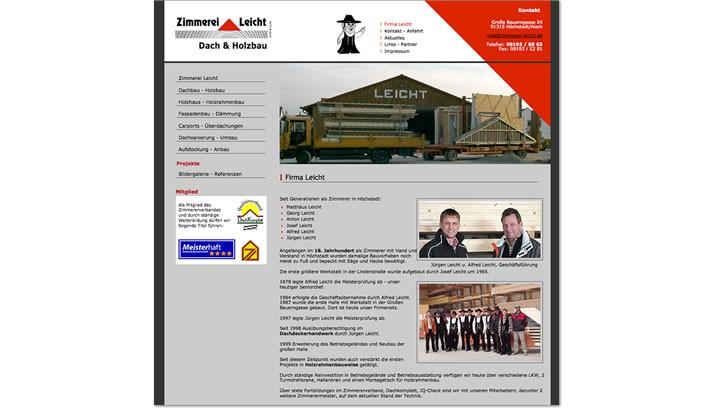 Firmen Homepage für Zimmerei Höchstadt