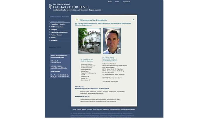 Website erstellen für HNO Arzt Praxis München