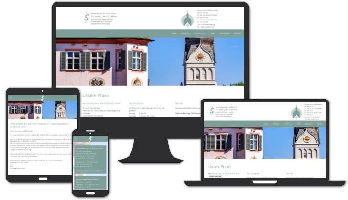 Webseite für Hausarztpraxis am Schönen Turm, Erding