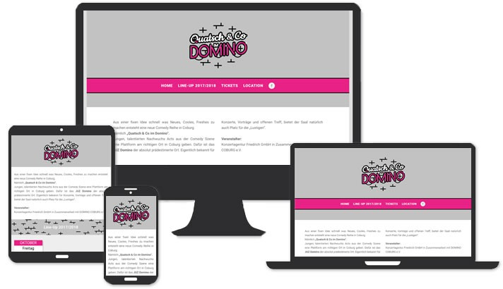 One-Page - Website für Quatsch & Co im Domino