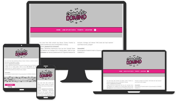 Website für Quatsch & Co im Domino
