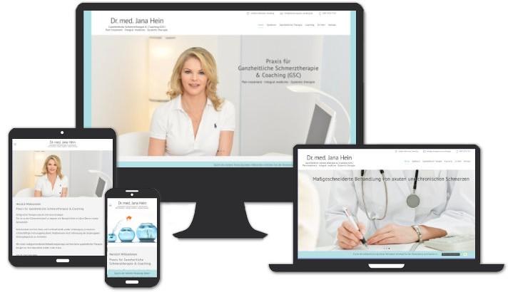 Webseite für Dr. med. Jana Hein, Schmerzpraxis München