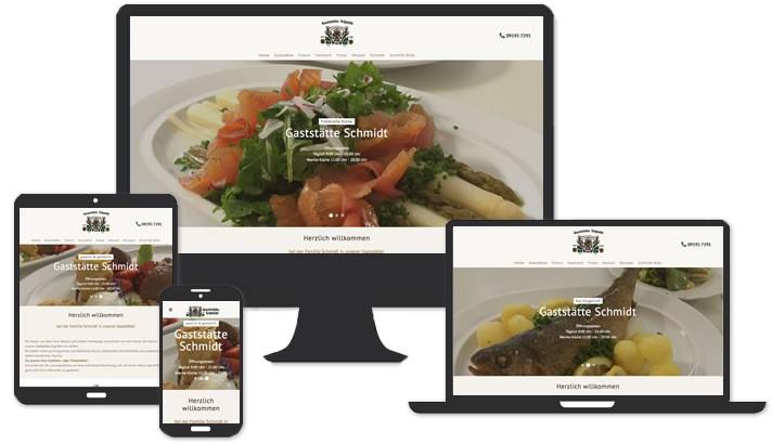 Webseite Gaststätte Schmidt Bräu Adelsdorf Ot. Neuhaus